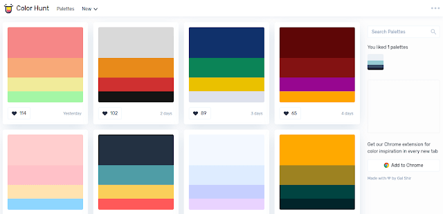 1. Color Hunt   https://colorhunt.co/